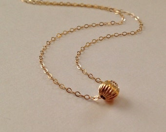 Tiny Gold Necklace -Single Bead Necklace -Simple Bead Necklace in Gold Fill