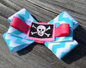 Girls, Cross Bones, Pink, and Turq, Chevron, Bow, Hair Clip