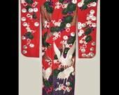 Vintage Japanese Kimono, Uchikake, Wedding Coat, Furisode, Red Silk with Cranes, Flowers