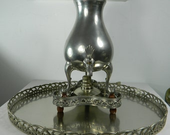 Vintage Pewter Coffee/Chocolate Pot With Spigot Service Set Art Deco Metawa Holland Real Pewter