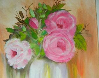 Vintage Original Oil Painting Still Life Pink Roses Floral Oil Painting Signed Art