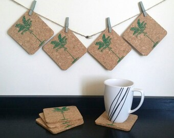Palm Tree Coasters - Tropical Coasters - Cork Coasters - Hostess Gift - Sets of 4 or 8