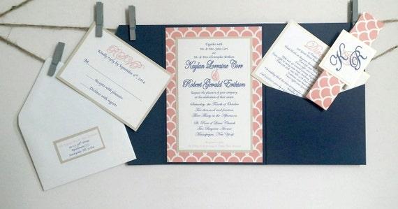 Navy And Peach Wedding Invitations: Navy & Peach Wedding Invitations Navy Peach And Gold