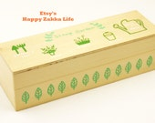 Wooden Rubber Stamp Set - Garden - 7 Stamps and 1 Ink-pad