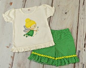 Girls Tinkerbell Outfit - Disney Trip outfit - Tinkerbell Top and Skirt Set - Princess Birthday Outfit - Tinkerbell