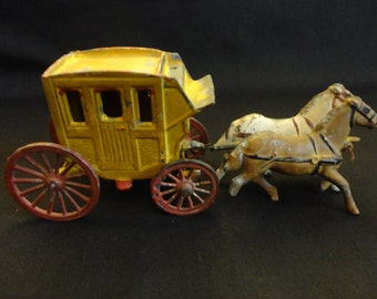 """Antique Vintage early 1900s Cast Iron Stage Coach with two Horses - very vintage condition - needs restoring & a lot of TLC - """"France"""""""