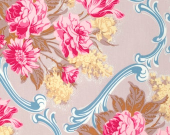 SALE - Pink Floral Fabric - Caravelle Arcade by Jennifer Paganelli from Free Spirit - 1 Yard