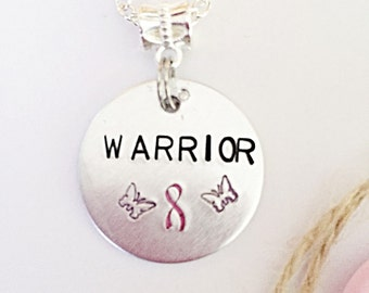 Breast Cancer Warrior Necklace - Pink Awareness Ribbon - Hand Stamped Necklace - Warrior Necklace - Awareness Jewelry - Gift For Her