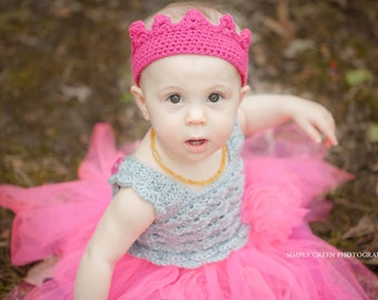 Newborn to Child--Girl's Crocheted Princess Birthday Crown-Custom Colors Available