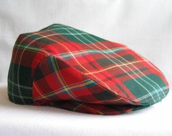 New Brunswick Tartan Flat Cap, Ivy Cap, Red Green Plaid Newsboy Hat, Man Gift,  Wonderful Gentleman's Gift, NB Hat, Taylors Tartans,