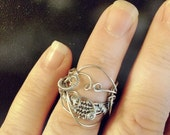 Silver Wire Ring Whimsical, Swirled Wire-Wrapped Jewelry inspired by Musical Composition- Silver-tone Steel