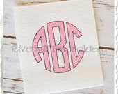 Vintage Style Circle 3 Letter Monogram Machine Embroidery Font Alphabet - 3 Sizes