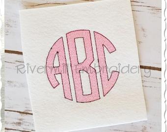 Vintage Style Circle 3 Letter Monogram Machine Embroidery Font Alphabet - 3 Sizes