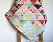 Colorful baby quilt, cot quilt, stroller quilt, pram cover, multicolor