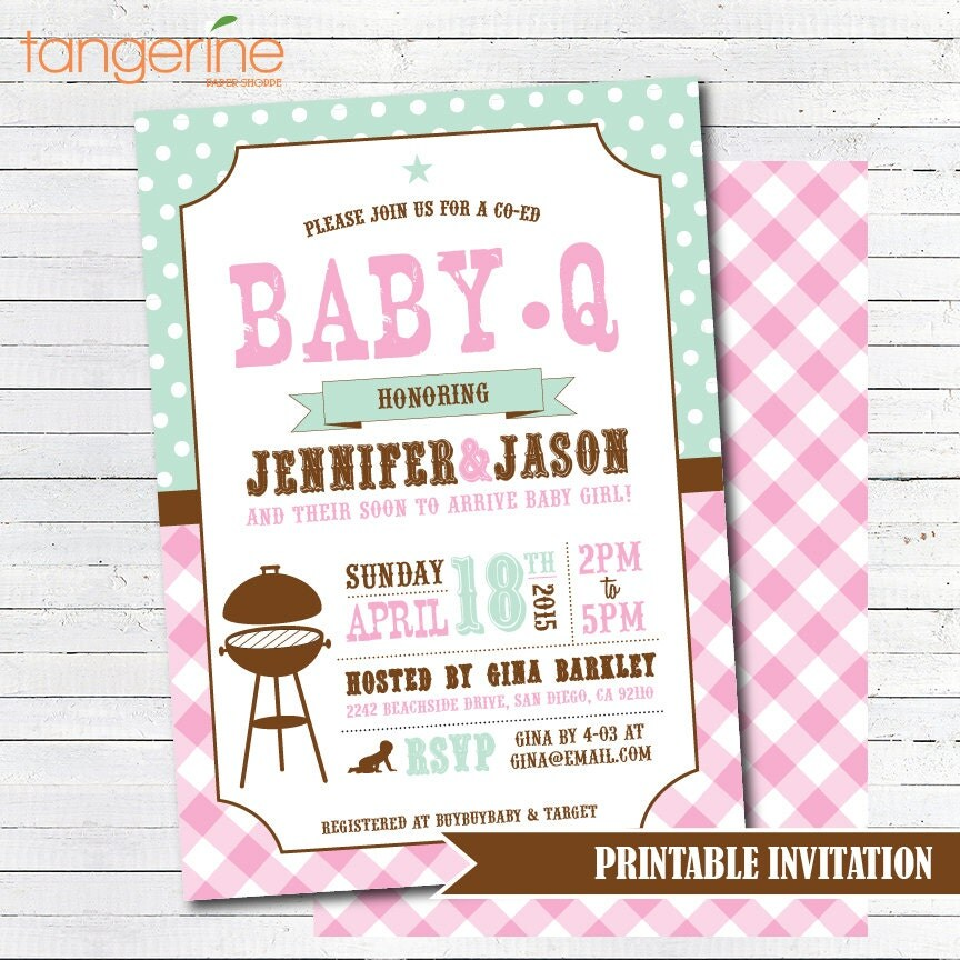 BBQ Baby Shower Invitation GIRL BabyQ Shower Invitation
