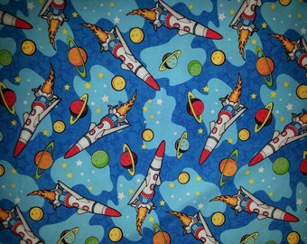 Space Ship Rockets Planets Cotton/Fleece Blanket 22x22 Personalized