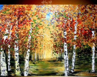 ENORMOUS Oil Landscape painting Abstract Original Modern palette knife Birch Trees oil impasto oil painting by Nicolette Vaughan Horner