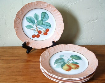 Vintage Summer Fruit by Mottahedeh Set of 5 Porcelain Salad Dessert Plates Apples, Apricots, Cherries, Pears, Strawberries