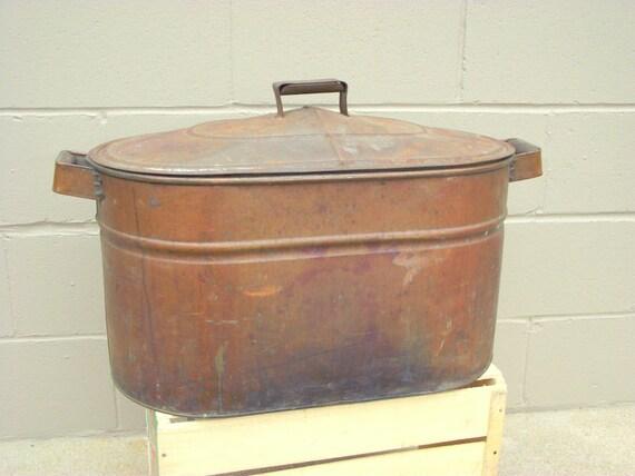 Antique Double Copper Wash Tub Boiler w/ Lid - Primitive Rustic Decor ...