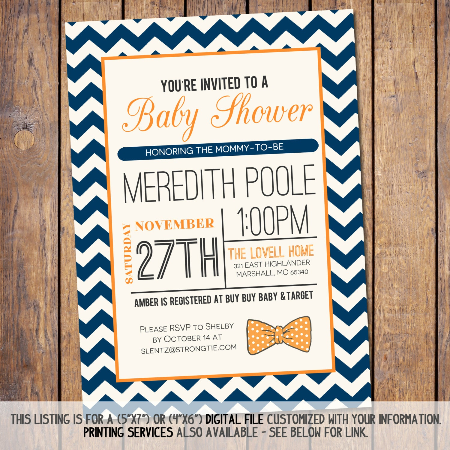 baby boy shower invitations bow tie navy blue chevron and