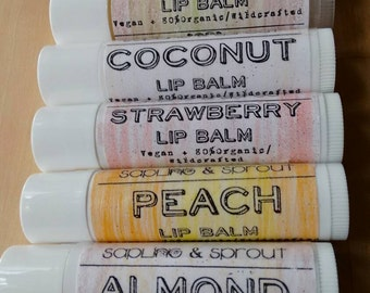 Organic Vegan Lip Balm Set, 5 for 10, FREE SHIPPING!