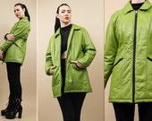 90s Vtg Alien Slime Green Genuine LEATHER Black Zipper MiNIMALIST Jacket / Collared Trench Parka Coat / Medium
