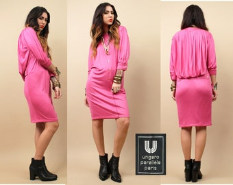70s Vtg Emanuel UNGARO Silk Jersey Avant Garde Mini Dress / Cape Tunic Draped Hot Pink Minimal Mod FUTURISTIC Wearable Art / EUC MiNt!