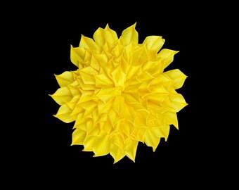 Big Yellow Satin Flower #3: Hair Pin, Clip, Flower Girl Hair Accessories, Barrette, Brooch Pin, Headband, Bridal, Wedding, Ballroom Dancers