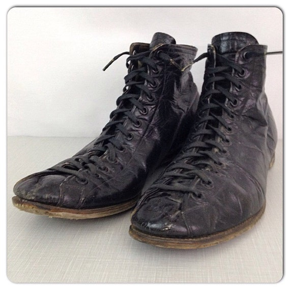 Rare Vintage 1920s 1930s Black Leather Lace Up High Top