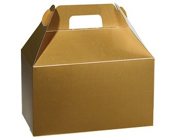 "6ct. Gold Gloss Medium Size Gable Gift Boxes Tote Containers 8-1/2"" x 4-3/4"" x 5-1/2"" (Free Shipping!)"