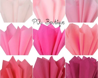 "20ct. Tissue Paper for Gift Wrapping 15""x20"" Solid Sheets (You Choose The Color!) Pink Cerise Rose FREE SHIPPING!"