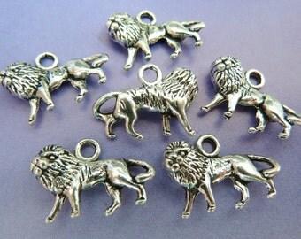 6 pendants, bavarian lion, Oktoberfest, antique silver