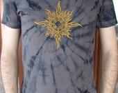 Forest psy t-shirt, graphite, tie-dye, celtic sun embroidery motive, size S