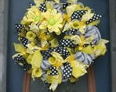 "The Bee's Knees Yummy Yellow White and Black MEDIUM Wreath 28"""