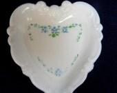 Milkglass heart ring dish blue floral design vintage glass