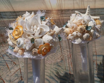 2 Piece Package, Made to Order, Coral and Turquoise Seashell Flower, Pearl, Rhinestone Seashell Wedding Bouquet /  Beach Bouquet