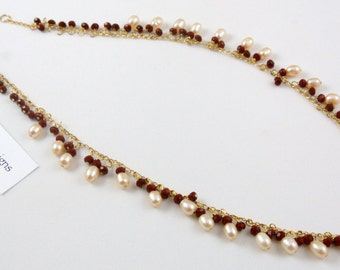 "Freshwater Pearl & Ruby Red Crystal Necklace, 17"" long"