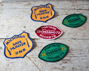 Vintage Boy Scout - Lot of Boy Scout Embroidered Patches Football Michigan Hunter DNR