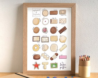 Biscuit Alphabet Print - food art - kitchen art - alphabet of biscuits - gift for biscuit lover - gift for baker - food illustration