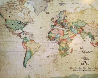 Vintage Inspired Map, Old World Charm, 30x45 inches mounted on foam, Wanderlust couple, Wedding map