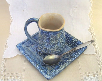 Hand built Stoneware Demitasse and Saucer Set, Tea Cup, Espresso Cup, Irish Coffee Cup, Bright Blue, Soft White, Lace Textured