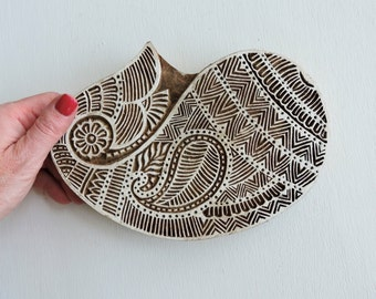 Huge Paisley Stamp: Clay Stamp, Hand Carved Wood Stamp, Large Indian Textile Printing Block, Ceramics Pottery Stamp, Bohemian India Decor
