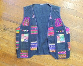 Embroidered Patchwork DENIM Vest / Women's Vintage Outerwear / Bohemian Vest