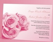 """Rose Wedding Invitation Suite With """"Painted"""" Pastel Rose Bouquet, Simple and Romantic Wedding Bouquet, You Choose Custom Color"""