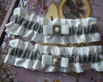 Soooo Pretty in Person -  Glittery Silver and White Garter Set