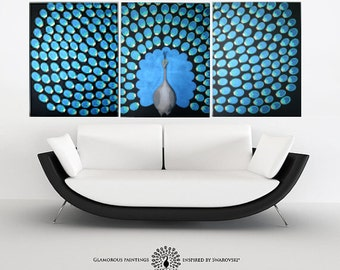 Large peacock decor with 250 Swarovski® crystals. Large wall art. Large peacock painting. Large peacock wall art. Peacock triptych Lydia Gee