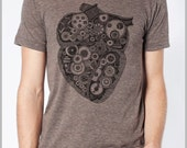 Steampunk Heart Men's T shirt Vintage Unisex - American Apparel Tee Tshirt  Gift for him Gift for her