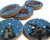 Handmade magnets, set of 5, owl art dog painting little hearts, house warming gift, handpainted art, tiny paintings mixed media original art