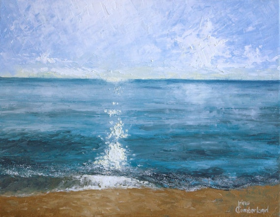 """Original Seascape painting of a Florida beach """"Late Morning"""", 14""""x18"""", oil on stretched canvas,"""