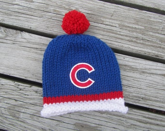 CHICAGO CUBS Hand Knit Baby Hat - Chicago Cubs Baby Hat - Hand Knitted Baby Hat